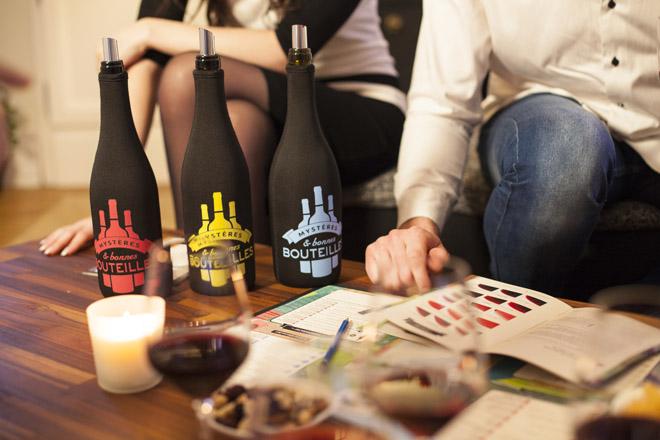 Mise en situation jeu Mystere et Bonnes bouteilles, Lyon, Janvier 2016.