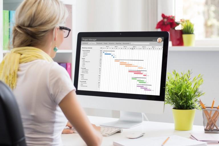 Woman using Gantt chart for project management