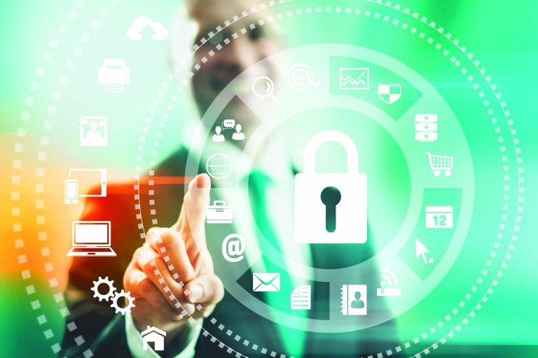Internet security concept man pointing solutions
